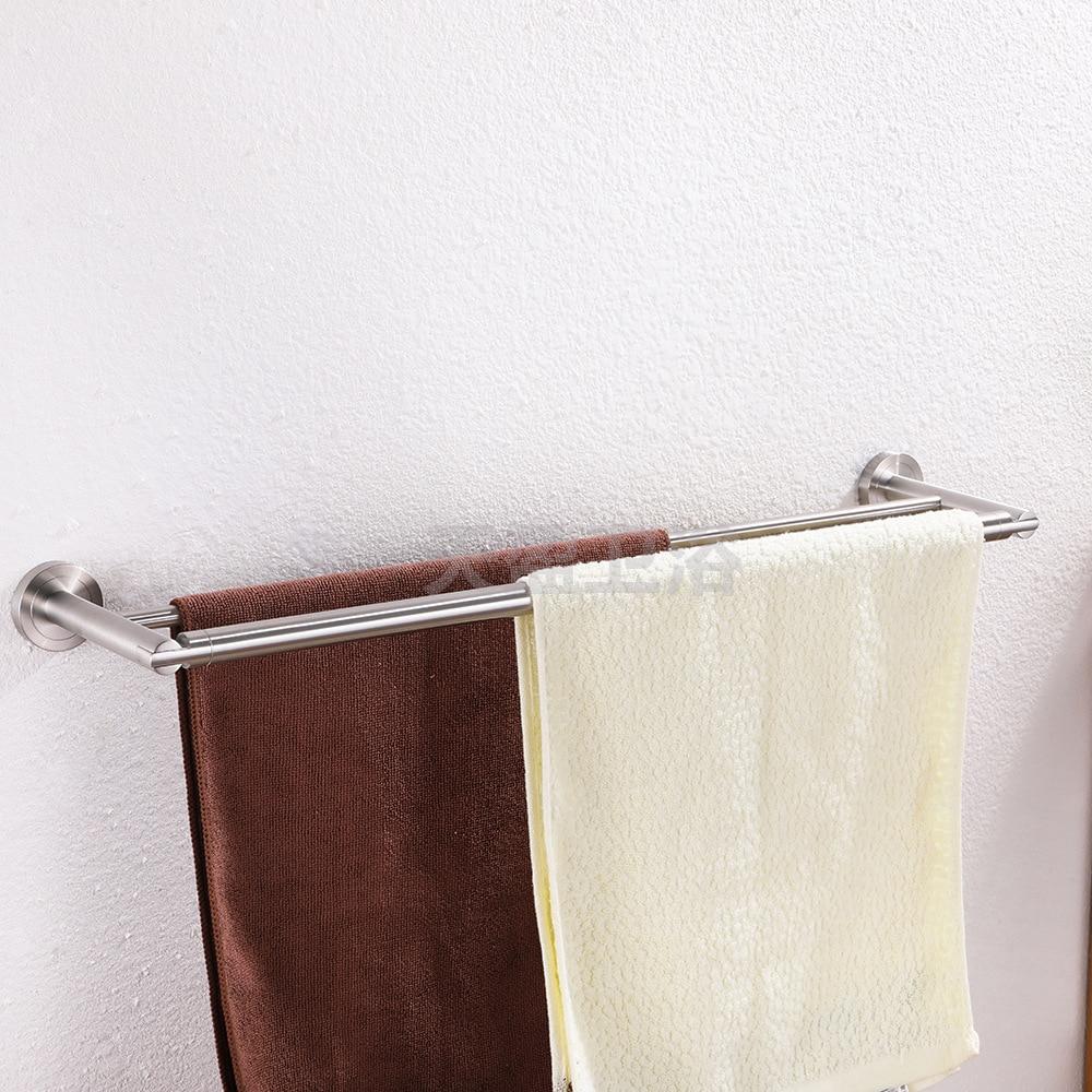 304 Stainless Steel Towel Rack Double Poles Brushed Towel Rack Bathroom Hardware Accessories