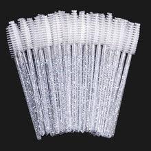 Zwellbe tek kullanımlık kristal kirpik fırçası tarak 25/50 adet/paket göz Lashes uzatma maskara fırçaları makyaj profesyonel güzellik aracı
