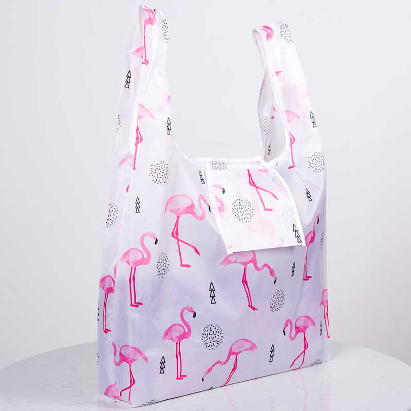 Green Foldable Reusable Eco Shopping Bag Flower Tote Folding Pink Flamingo Pocket Pouch Handbags Storage Bags