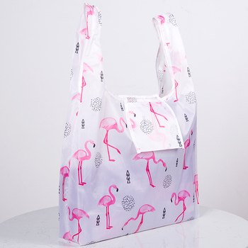 цена на Green Foldable Reusable Eco Shopping Bag Flower Tote Folding Pink Flamingo Pocket Pouch Handbags Storage Bags