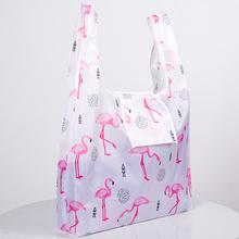 Zielona składana wielokrotnego użytku ekologiczna torba na zakupy kwiat Tote składane różowe flamingi kieszeń etui torebki torby do przechowywania tanie tanio OLOEY Polyester WOMEN Floral Torby na zakupy Nie zamek 15cm XR22-14 Na co dzień