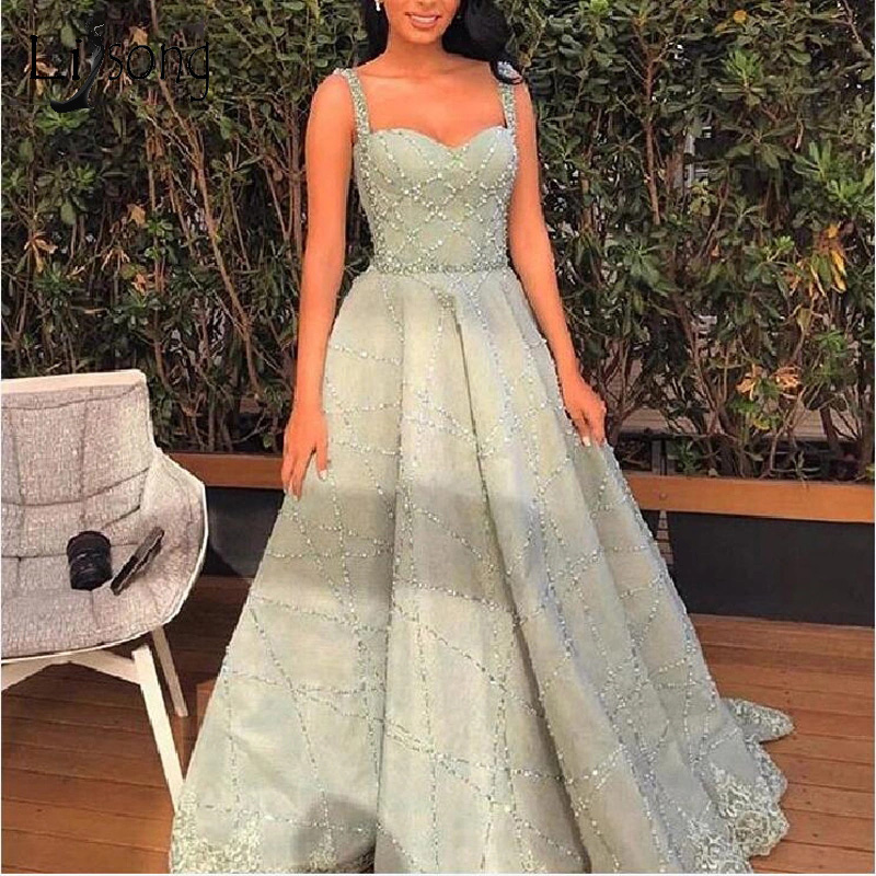 Sparkle 2019 Beaded A-line Prom Dresses Elegant Mint Green Lace Long Prom Gowns Vintage Crystal Evening Gowns Abiye