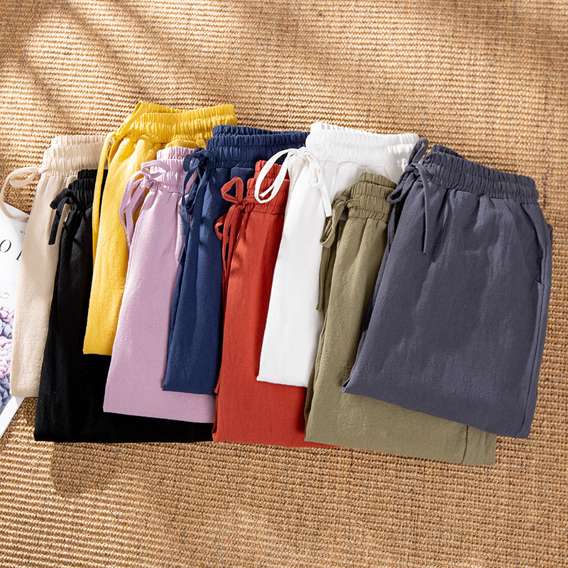 Spring Summer Woman Pants Cotton Linen Solid Elastic Waist Joggers Women Candy Colors Harem Trousers Soft High Quality For Ladys