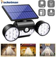 Solar Lights Solar Powered Wall Lights with Dual Head Spotlights  Rotatable Solar Motion Security Night Lights for Yard Garden