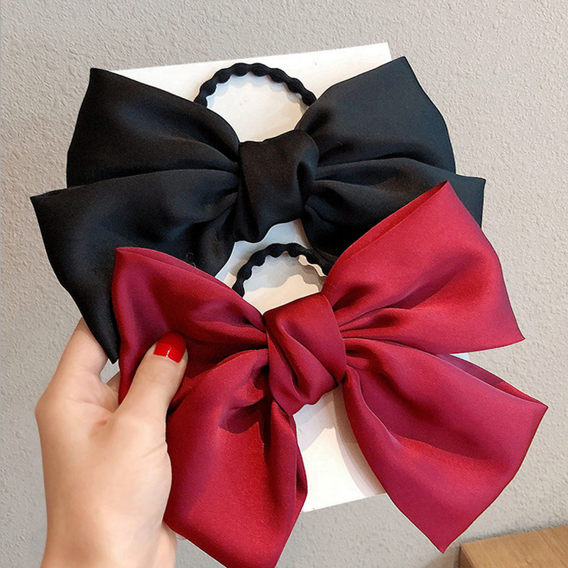 1PCS Solid Color Hair Bands For Women Bow Tie Elastic Rubber Band Girls Ponytail Holder Headwear Hair Accessories Headdress