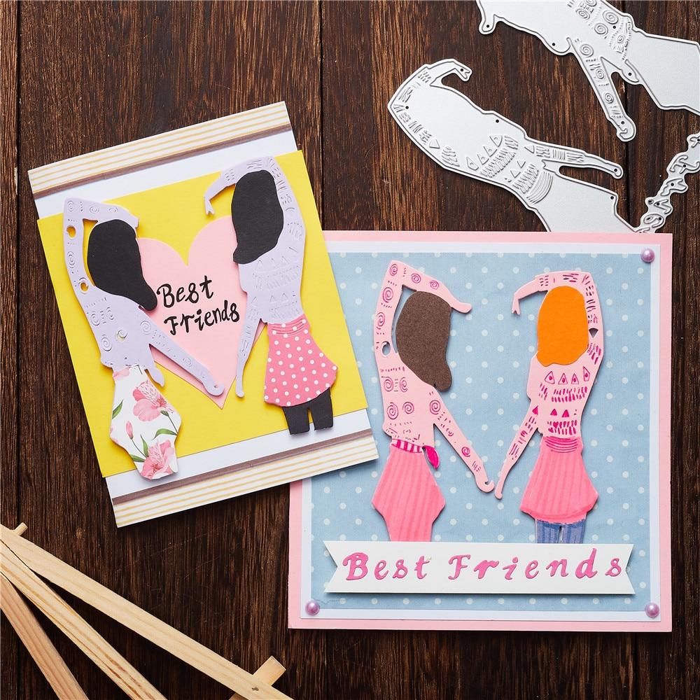 Eastshape Best Friends Letter Metal Cutting Dies 2 Girls for Card Making Scrapbooking Dies Embossing Cuts Stencil Craft Dies