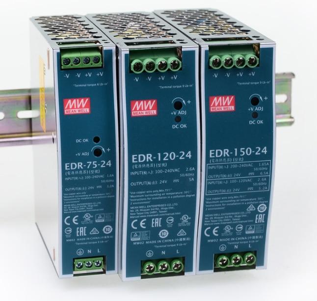 Meanwell-alimentation électrique pour sortie unique, EDR-75, 120, 150, EDR-75, 120, 150, 12, 24, 48 V