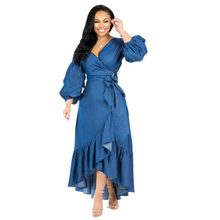 цена на New Blue Women Nine Points Sleeve A Line Ruffle Hem Dress V Neck Dress Lantern Sleeve Women Dress