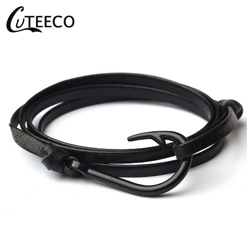 CUTEECO New Adjustable leather Black Fish hook Men Paracord Anchor Bracelet Woman Charm Survival Chain Sport Lovers Bracelets