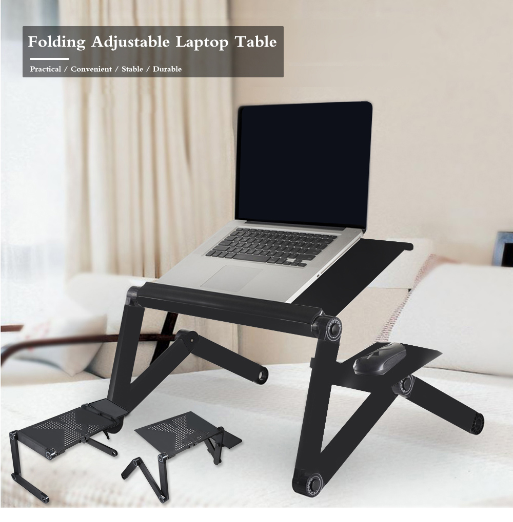 Tray Portable Foldable Adjustable Laptop Desk Computer Table Stand Tray For Sofa Bed Black Computer Desk Notebook Stand Hot Sale