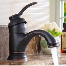 Grifo de latón, grúa de agua caliente y fría, grifo de fregadero de bronce cepillado, grúa mezcladora de lavabo Vintage para baño negro