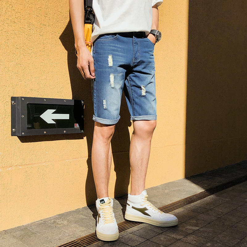 Thin Casual Short Jeans Korean-style Men 5 Pants Teenager Slim Fit Pants Shorts Men's Zuk208