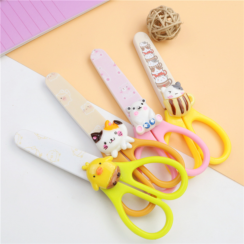 Cute Kitten Stationery Scissors Children's Manual Cutting Tool Rounded Cover Safety Stainless Steel Scissors