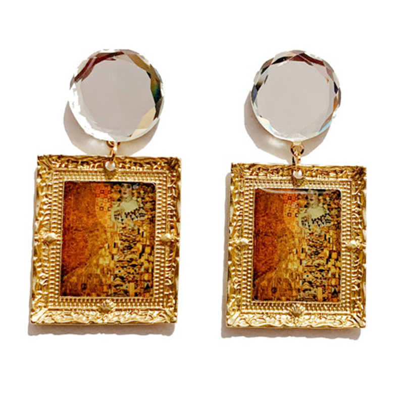 Vintage drop earrings Vincent Van Gogh Oil Painting Sunflower Women Dangle Crystal Glass Hyperbole Jewelry Party Wedding Gift in Drop Earrings from Jewelry Accessories