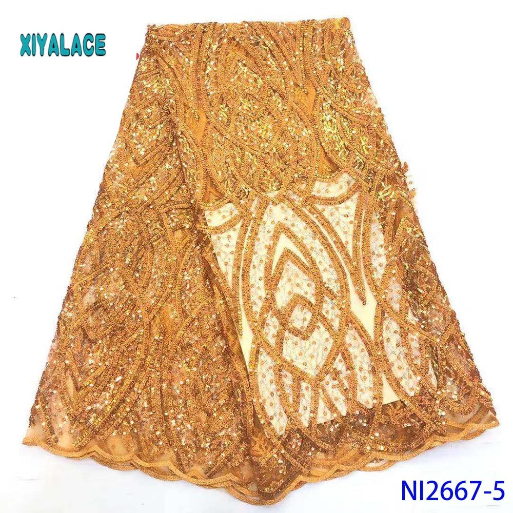 Golden Sequins African Lace Fabric 2019 High Quality Lace African Lace Fabric French Lace Fabric Women Wedding Dress YANI2667-5