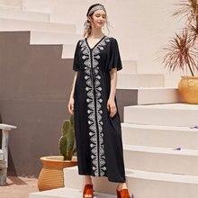 2020 Elegant Embroidered Black Cotton Tunic Women Beachwear Kaftan Sexy V Neck Butterfly Sleeve Summer Dress Beach CoverUp Q1042