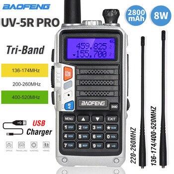 New Tri-Band Walkie Talkie Baofeng UV-5R Pro VHF UHF 220-260MHz 2pcs Antenna High Power 8W Two-way Radios Portable Ham Radios