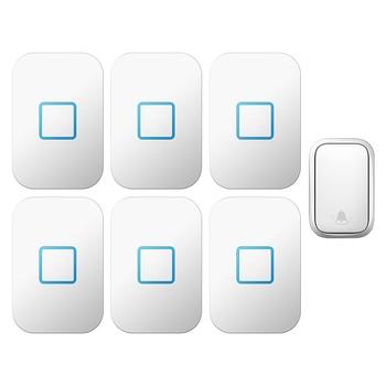 CACAZI Home Wireless Self-powered Doorbell Waterproof No Battery US EU UK Plug Intelligent Cordless Doorbell 1 Button 6 receiver
