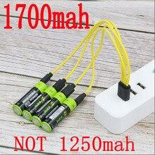 ZNTER AA 1,5 в 1700 мАч МВтч литий полимерный USB Перезаряжаемый литиевый usb аккумулятор USB кабель