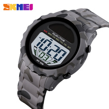 Sportowy zegarek męski luksusowy odkryty zegarek wojskowy 50 Bar wodoodporny męski zegarek elektroniczny Alarm stoper zegar SKMEI męski zegarek tanie tanio Z tworzywa sztucznego 24cm 5Bar Cyfrowy Klamra ROUND 20mm 12mm Żywica Luminous Chronograph Kompletna kalendarz Odporne na wodę