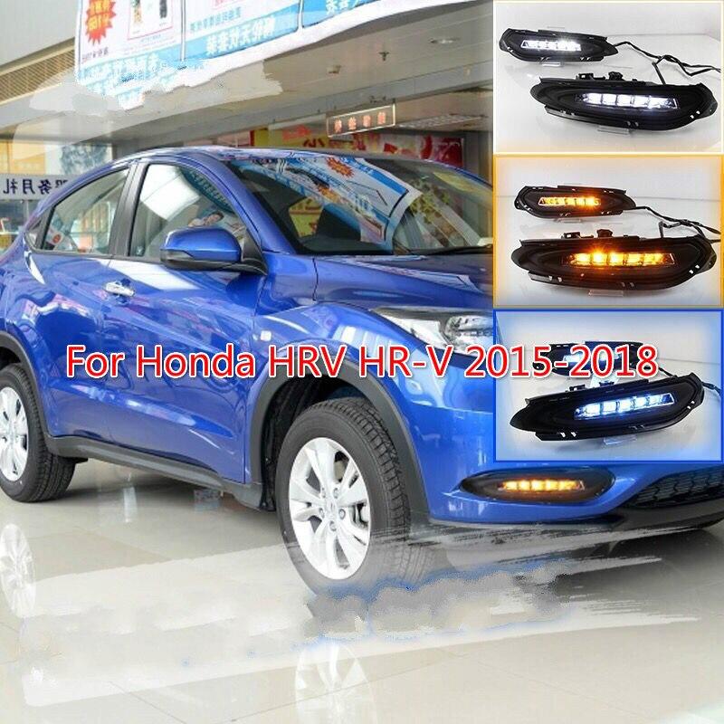LED DRL Daytime Running Lights Fog Lamp Turn Signal For Honda HRV 2015-2018 16