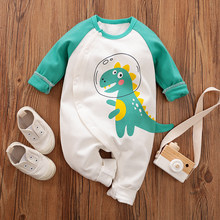 PatPat Baby Junge Mädchen Nette Dinosaurier Druck Lange-sleeve Overall Bottom Snap Frühling Herbst Baumwolle Rundhals Casual(China)