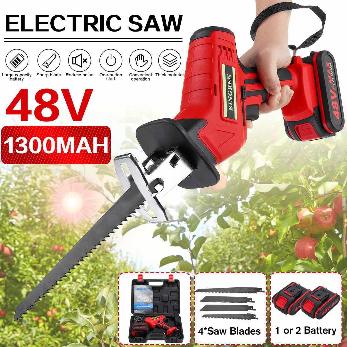 48V Cordless Reciprocating Saw with 4 Saw Blades Metal Wood Cutting Tool Portable Woodworking Cutter 1 2  Li-ion Battery Kit