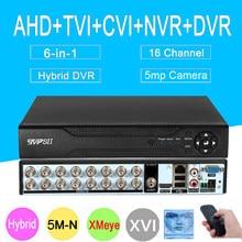5MP Überwachung Kamera Xmeye 5M-N Hi3521D H265 + 16CH 16 Kanal 6 in 1 Koaxial WIFI Hybrid NVR CVI TVI AHD CCTV DVR System
