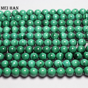 Image 2 - Meihan Natural green malachite 9.5 10mm smooth round european beads stone for jewelry making design stone diy bracelet