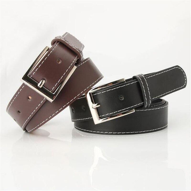 Black PU Belt 90cm 100cm 110cm 120cm * 2.8cm Women Belts Female Lady Casual Color Waistband Students Girdle Metal Belt Buckle