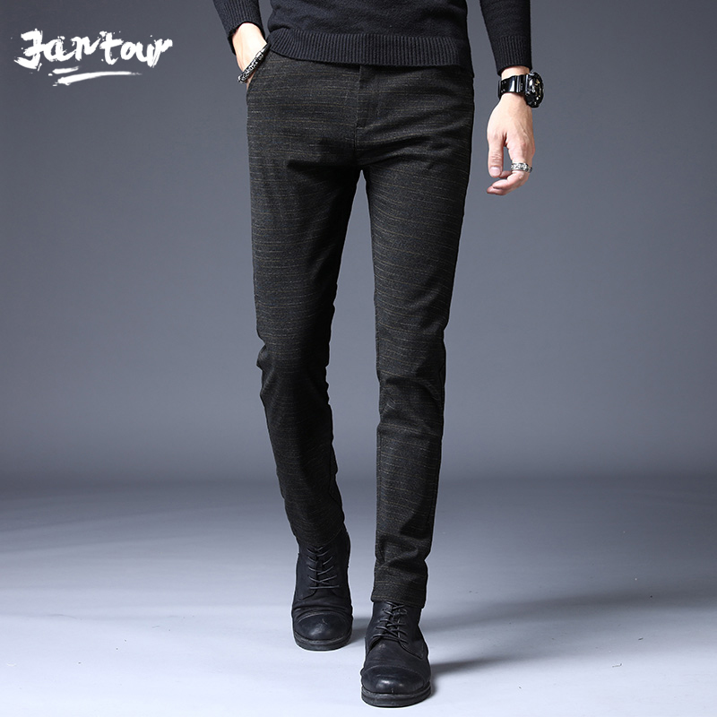 2019 Autumn Winter Men's Business Casual Pants Trend Designer Slim Male Trousers Classic Stripes High Quality Stretch Pants Men