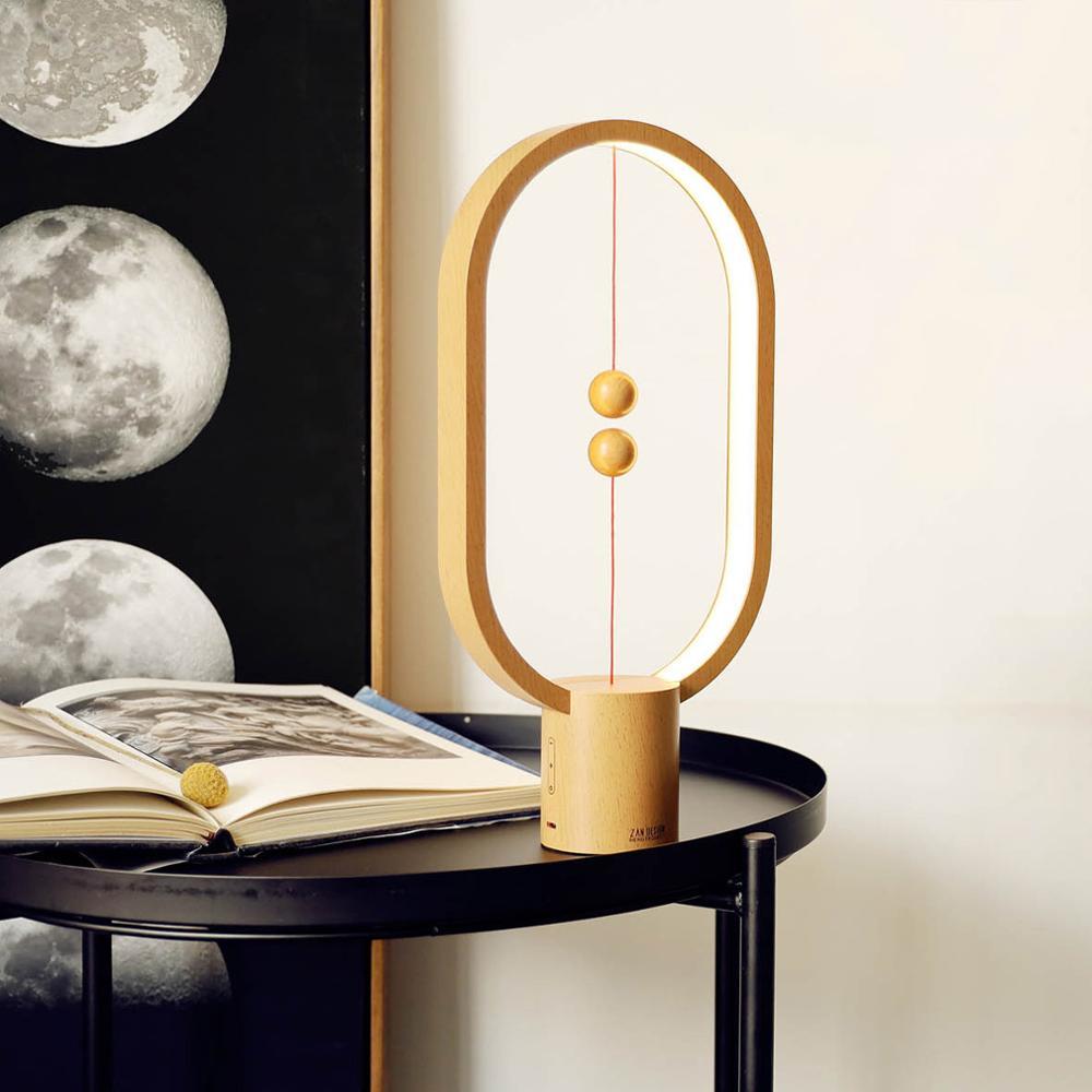 USB Rechargeable HENGPRO LED Balance Lamp Night Light USB Powered Ellipse Magnetic Novel Lamp Switch Touch Table Light