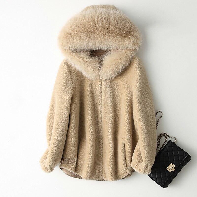 Fox Fur Hooded Real Fur Coat Wool Jacket Autumn Winter Coat Women Clothes 2020 Korean Vintage Sheep Shearling Tops Abrigo Mujer