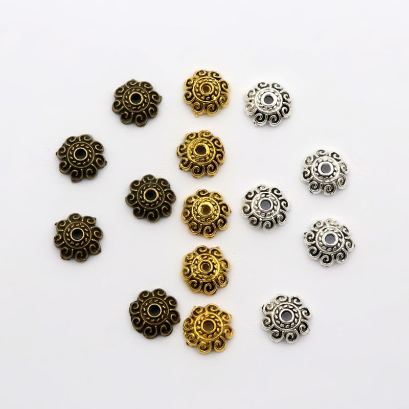 100Pcs 8x2.5mm Crimp Flower Retro Sun Sparer Loose End Beads Caps For Jewelry Making Finding Diy Accessories Component Wholesale