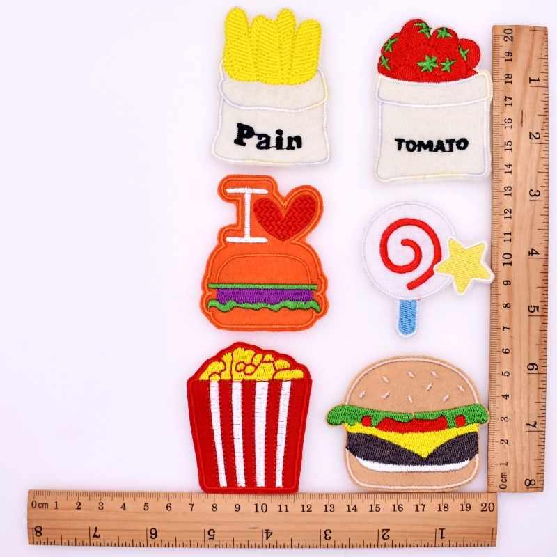 10 Buah/Set Anak Pakaian/Pakaian/Kaos/Celana/Sepatu DIY Hamburger/Lollipop/Popcorn Jahit besi Di Bordir Patch