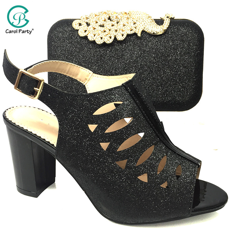 New Arrival High Quality Italian Design Lady Shoes Matching Bag in Black Color Nigerian Women Shoes and Bag Set For Party