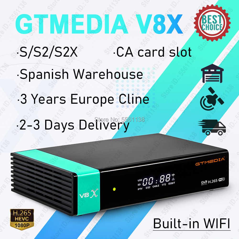 1080P DVB-S2 Gtmedia V8X Freesat Satellietontvanger Fta Decoder Verbeterde Gtmedia V8 Nova V9 Super Met 3 Jaar Europa cline