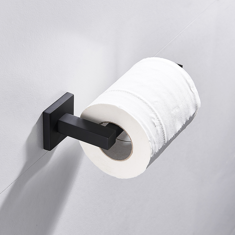 Bathroom Square Toilet Paper Holder Stainless Steel Matte Black Towel Square Bathroom Accessories Wall Mounted Toilet Roll