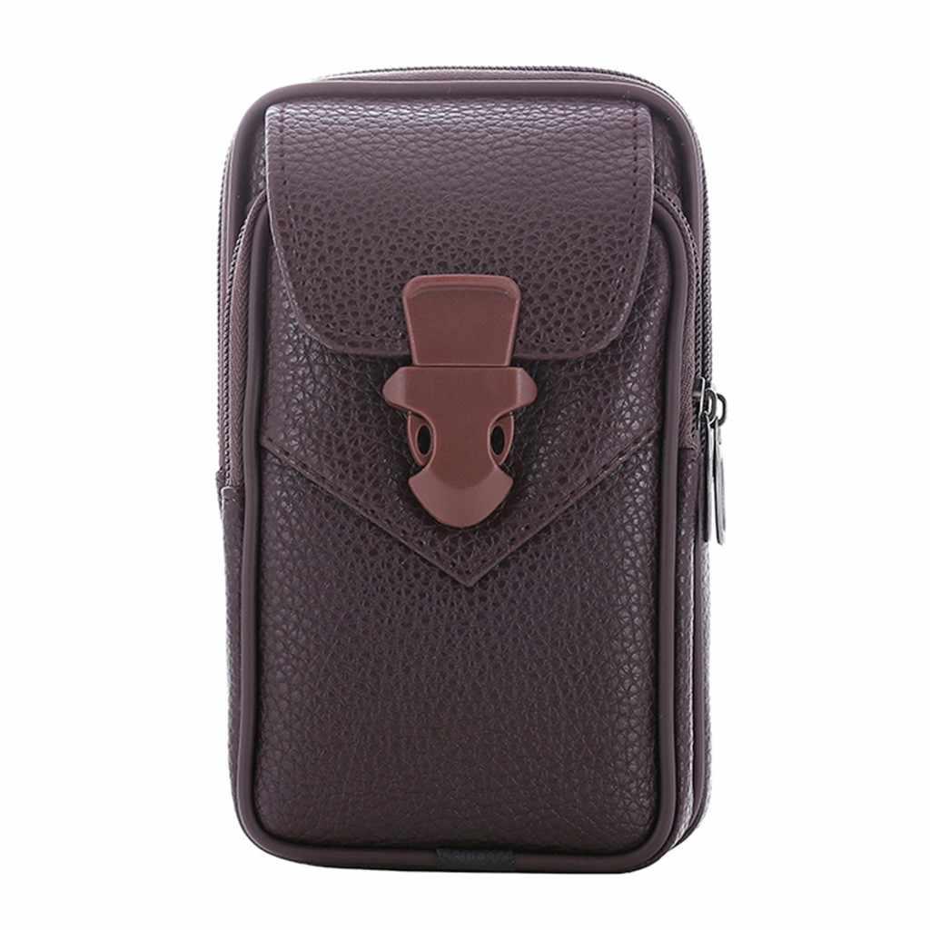 Männer Outdoor-Mode Münze Brieftasche Trend Feste Farbe Lychee Leder Kleine Zipper Schlüssel Mini Geldbörse Geldbörse Halter Brieftasche für Männer
