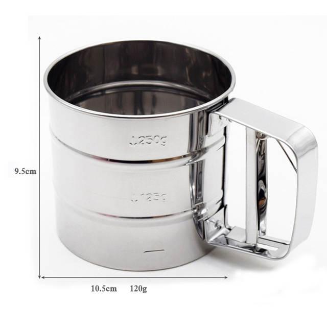 HOTEU Kitchen Flour Sieve Cup Hand-held Flour Sifter Mesh Crank Shaker Sieve Cup Strainer Powder Baking Tools