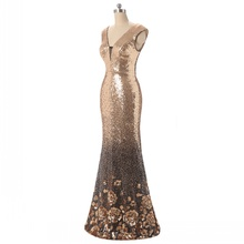 Free shipping Fashion Mermaid/Trumpet Floor length half sleeves Newest Luxury  Rose Gold Sparkle Prom Dresses Evening