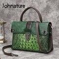Женские сумки Johnature в стиле ретро с узором аллигатора  женские сумки из натуральной кожи  ручная роспись  сумки через плечо  2020
