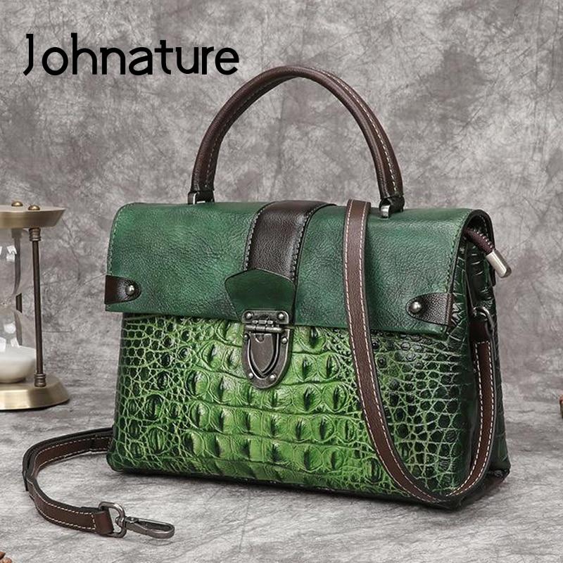 Johnature Retro Alligator Pattern Luxury Handbags Women Bags 2020 New Genuine Leather Hand Painted Shoulder & Crossbody Bags