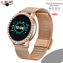 LIGE nouvelles femmes montre intelligente moniteur de fréquence cardiaque pression artérielle tracker fitness montre intelligente sport montre ios diamant cadran fit bit(China)