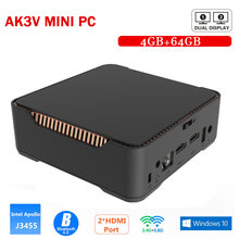 AK3V Windows10 Mini PC Intel Prozessor Apollo See Celeron J3455 6GB DDR3 64GB 4K Media Player 2,4G & 5,8G Wifi Windows 10 Min PC(China)