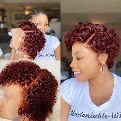 Бордовый 99J парик на сетке для женщин, красный вьющийся парик из человеческих волос, отбеленные узлы, глубокая сторона, T-образный вырез, коро...