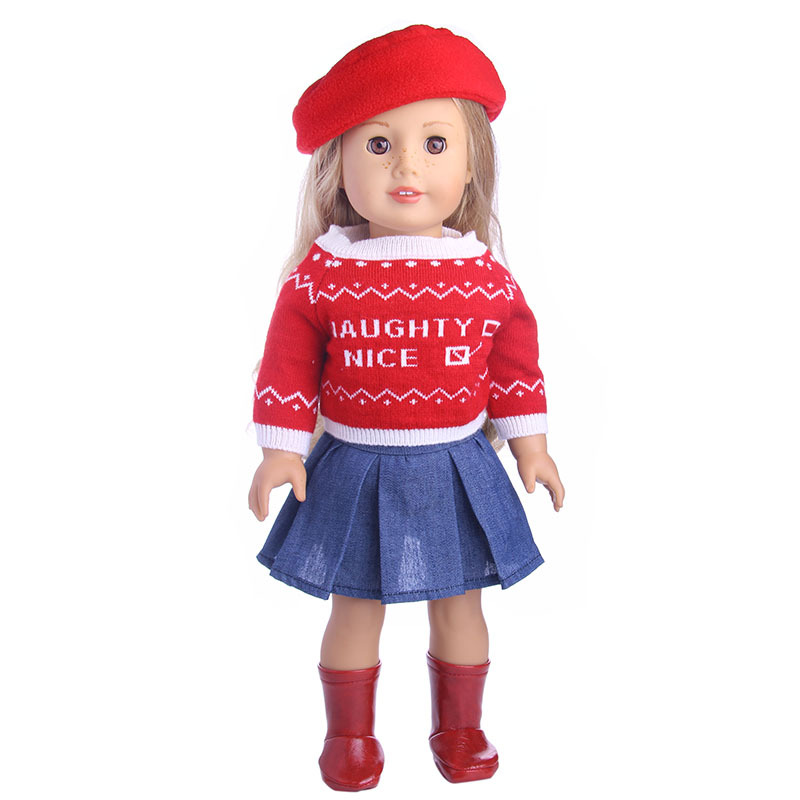 18-Inch-American-Doll-Clothes-3-PCS-Red-Hat-Sweater-Skirt-Clothing-Set-Fit-For-43cm (1)