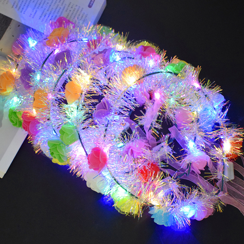 The New Gold Wire Luminous Garland Ten Lights LED Colorful Flash Rattan Headband Travel Scenic Photo Taking Headdress