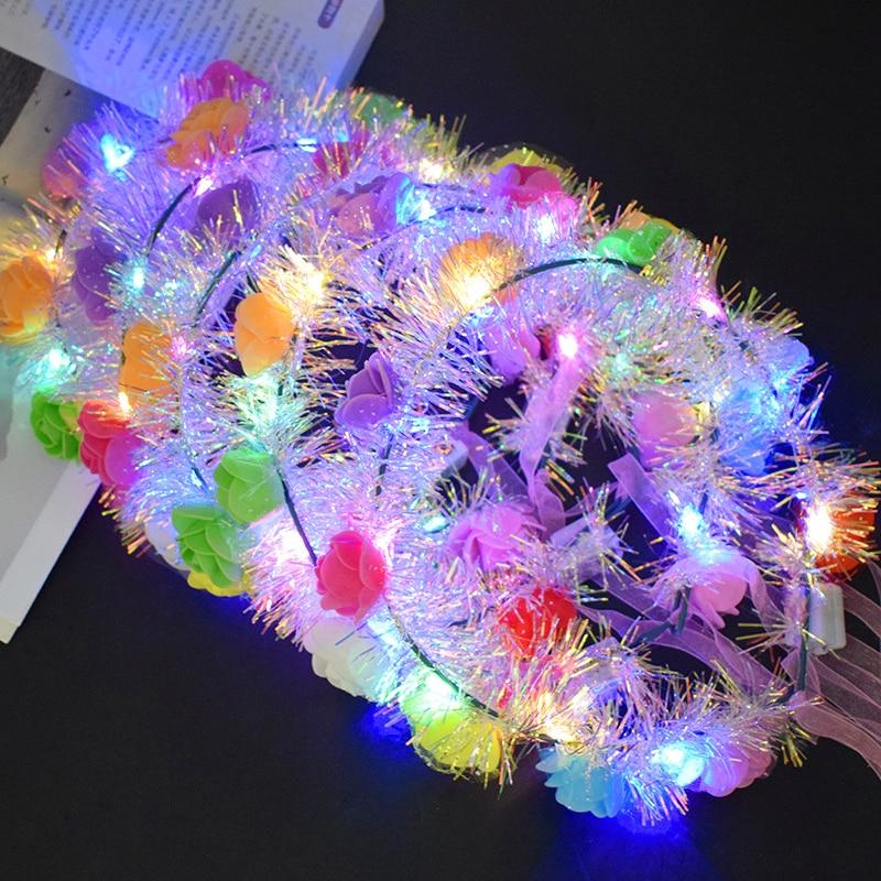 The New Gold Wire Luminous Garland Ten Lights LED Colorful Flash Rattan Headband Travel Scenic Photo Taking Headdress