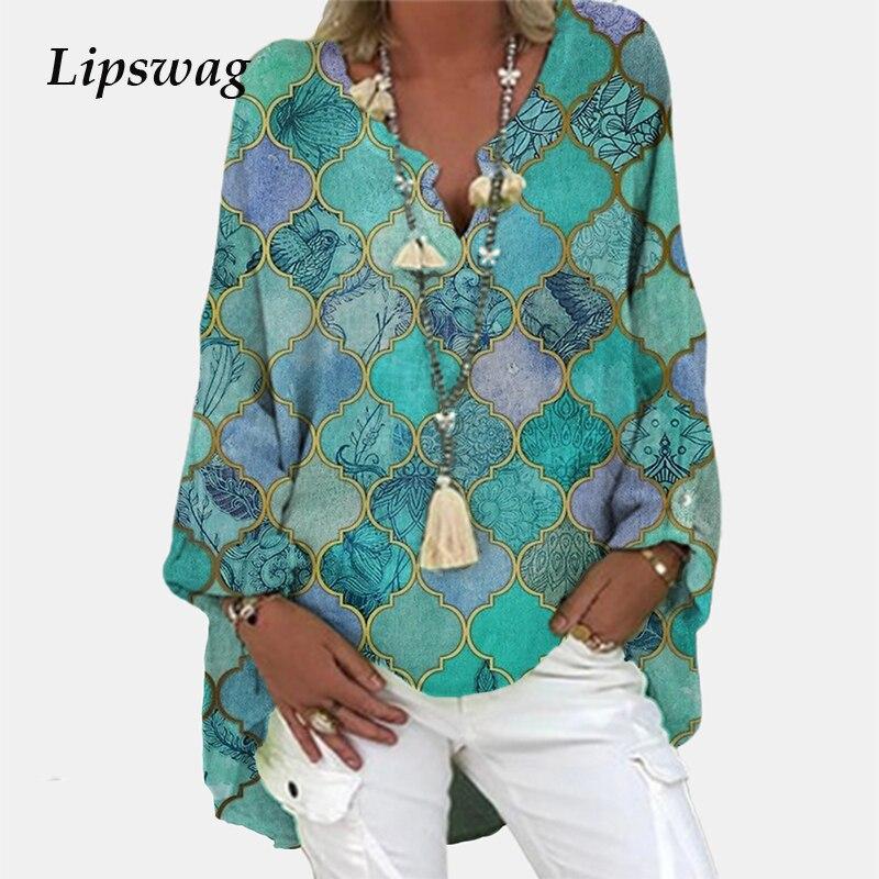Винтажная блузка с цветочным принтом и длинным рукавом, рубашка 2021, весенний Модный пуловер с V-образным вырезом, топы, Женская Повседневная ...